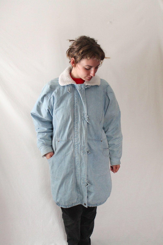 Retro s extra long fleece lined light wash denim jacket by learsi