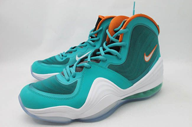 cheap for discount db43e d4f75 Nike Air Penny V Miami Dolphins New Green White Safety Orange