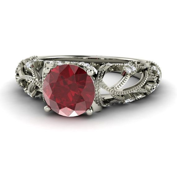 Ruby Ring Ruby Vintage Engagement Ring with Diamonds by Diamondere, $1695.00