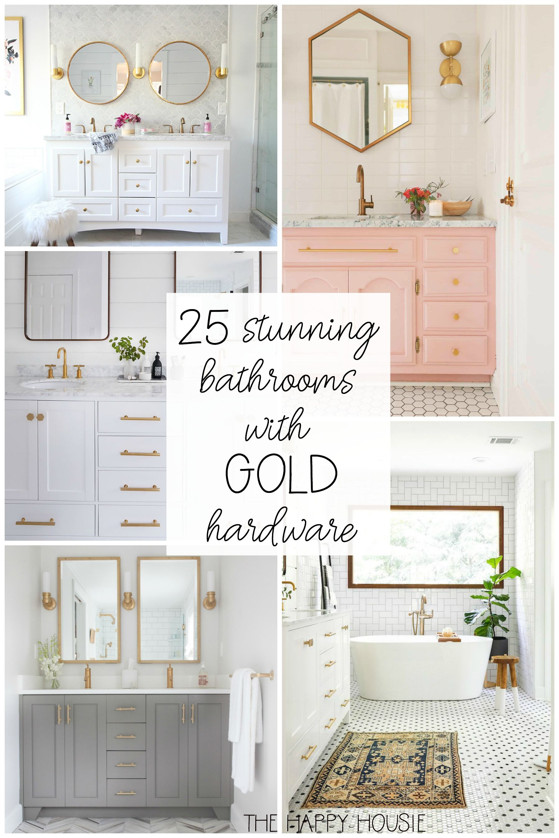 25 Stunning Bathrooms With Gold Hardware The Happy Housie Gold Bathroom Fixtures Chic Bathrooms Bathroom Decor