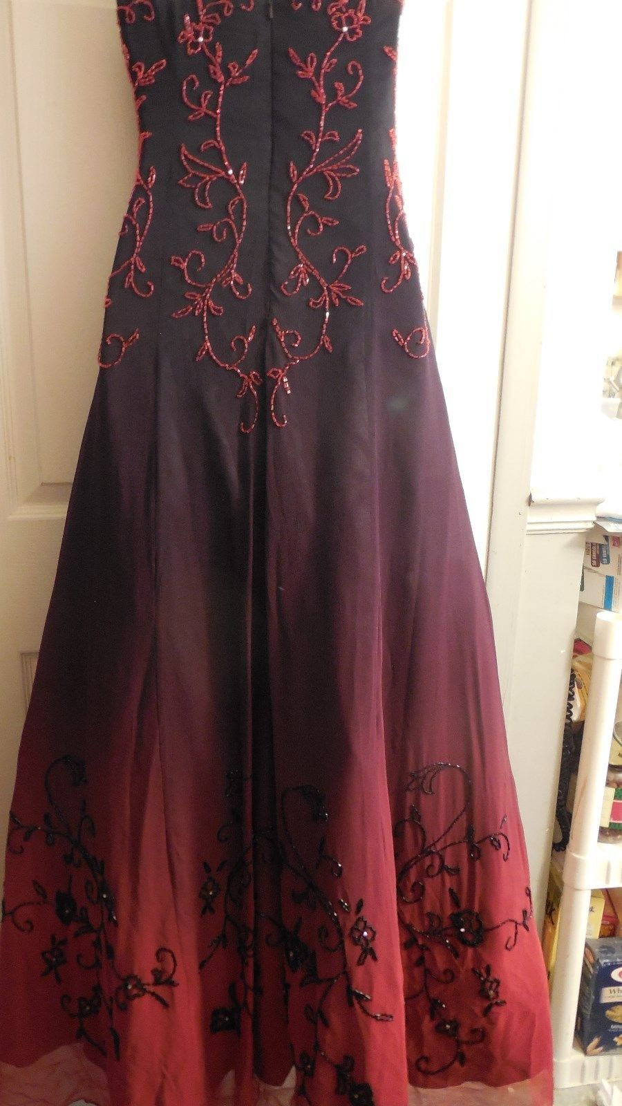 Details about cicci vintage silk strapless beaded ombre long dress