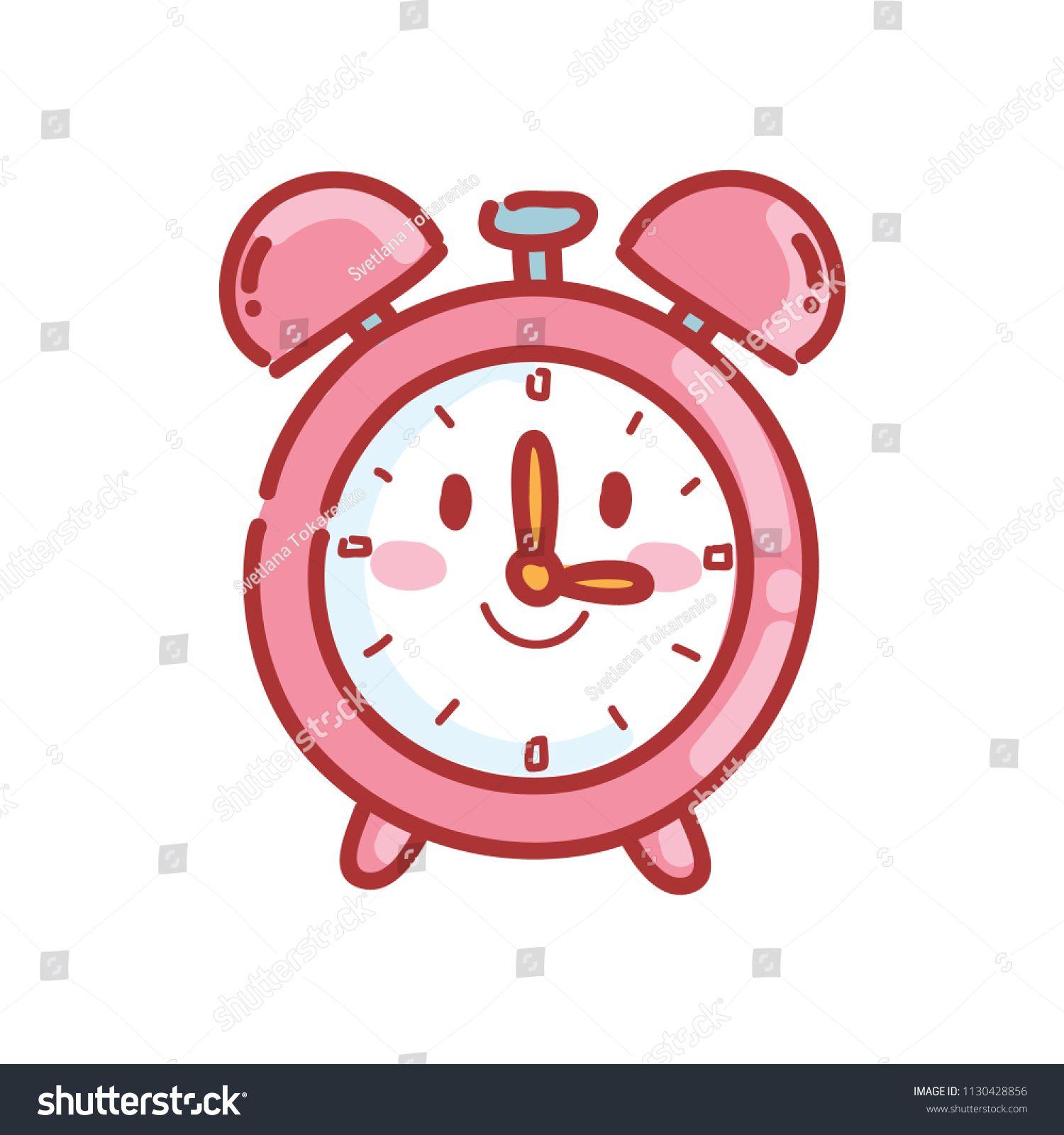 Cute alarm clock character with eyes vector cartoon