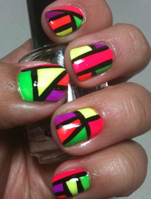 Neon 80\'s Nails ~ Portland Mom Prom   nails   Pinterest   Neon nail ...