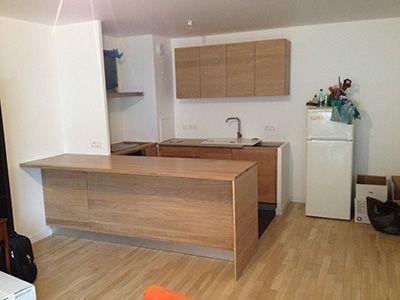 Cuisine façade chêne brut et plan de travail en chêne brut avec - plan de travail de cuisine