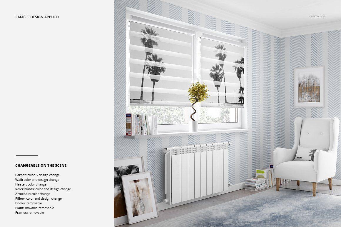 Roller Blind Mockup Set Diy Blinds Living Room Blinds Modern