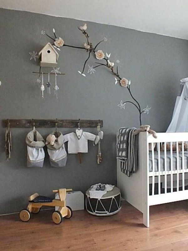 babyzimmer in grauen farbschemen dekoration an der wand. Black Bedroom Furniture Sets. Home Design Ideas