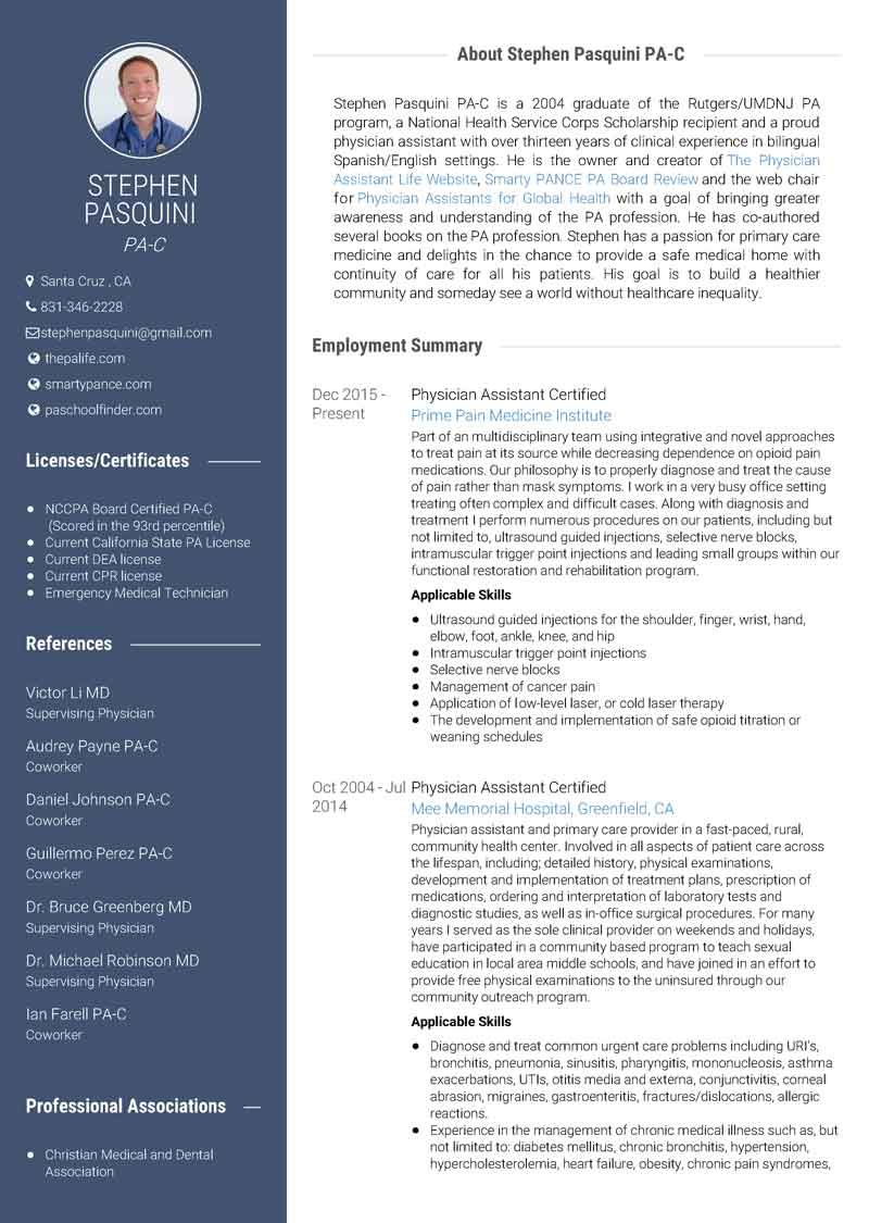 Sample Resume For Medical School Use Visualcv To Create A Stunning Physician Assistant Resume .