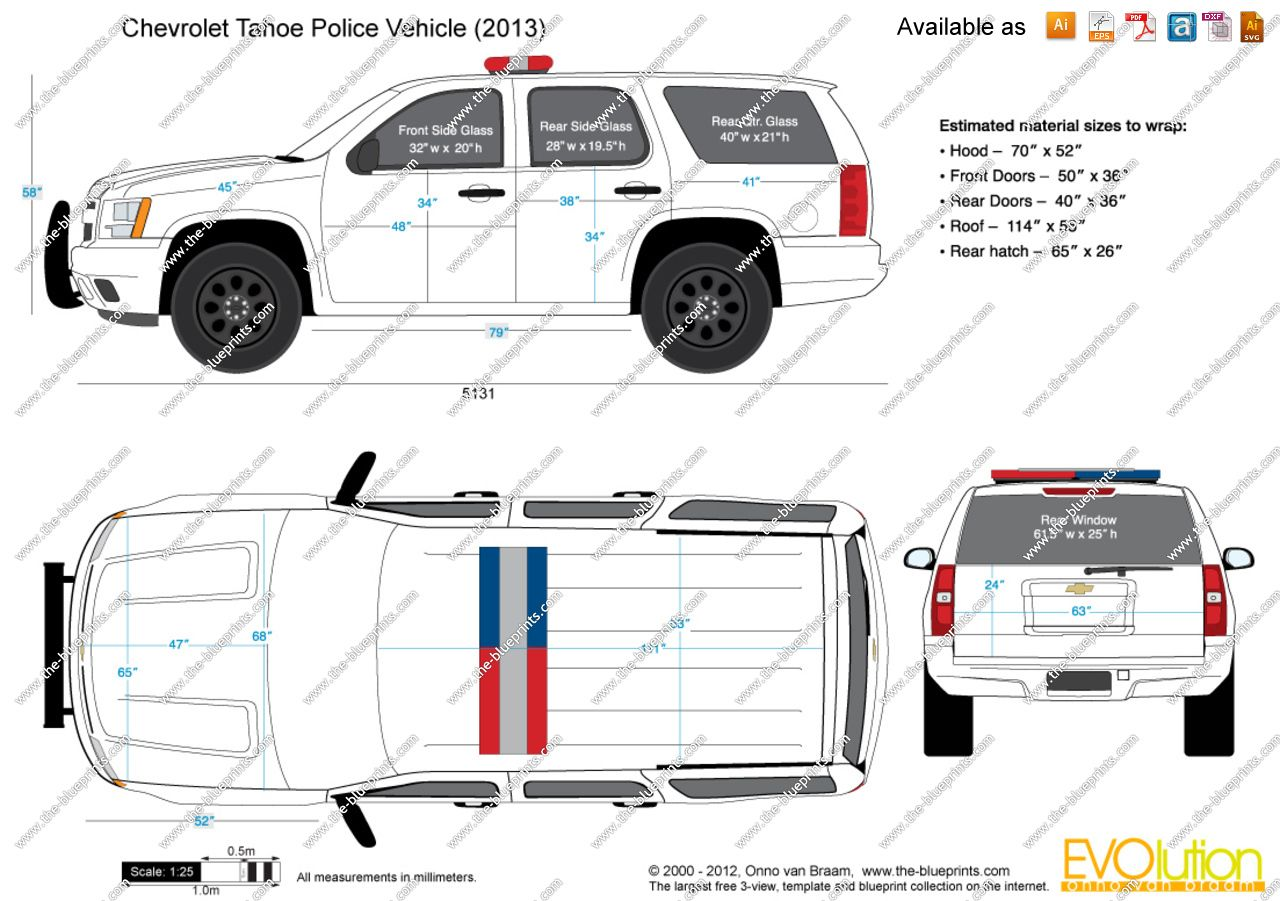 Drawing Of Chevrolet Tahoe The Blueprints Vector Police Vehicle