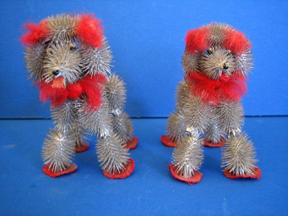 Horse Tail Cockle Burrs Poodle Dog Figurine(s) Arts & Crafts Vtg