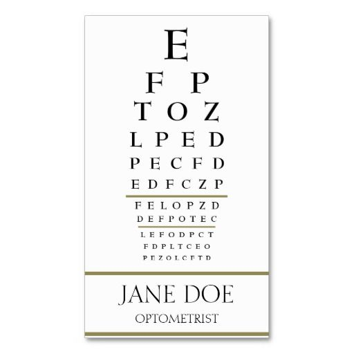 Optometrist Chart WhiteGold Stripes Business Card Template
