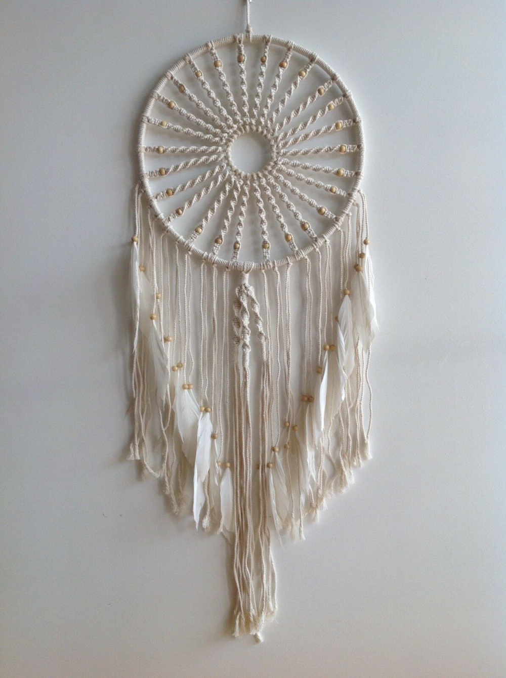 Photo of Details about 32cm X 100cm Rope Macrame Dream Catcher Wall Hanging with White Feathers