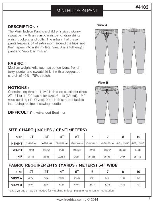 Image Of Mini Hudson Pant Pdf  Sewing  Patterns  Kids