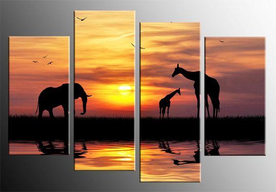 Deep African Sunset Giraffes Canvas Wall Art 4 Panel Canvas Picture 40 Inch 101cm Sunset Canvas Canvas Pictures Canvas Art Wall Decor