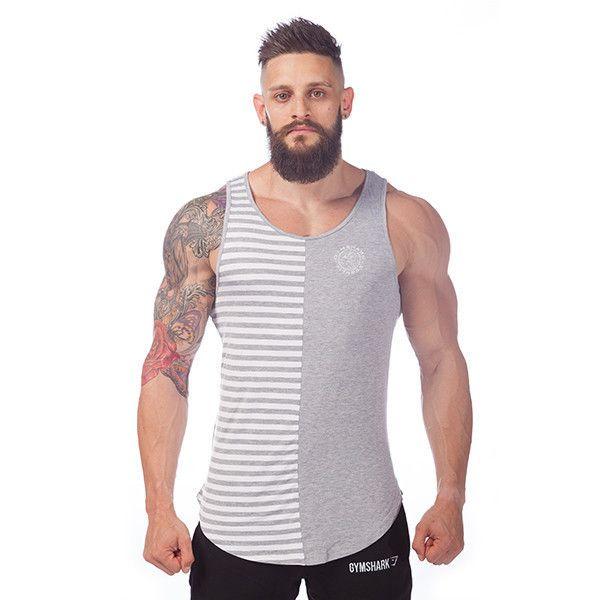 GymShark Luxe Stripe Tank Grey/White Vest tanks | GymShark International |  Innovation In Fitness