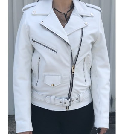 Allstate Fitted Classic Motorcycle Womens White Leather Biker Jacket In 2020 Leather Motorcycle Jacket Women Motorcycle Jacket Women