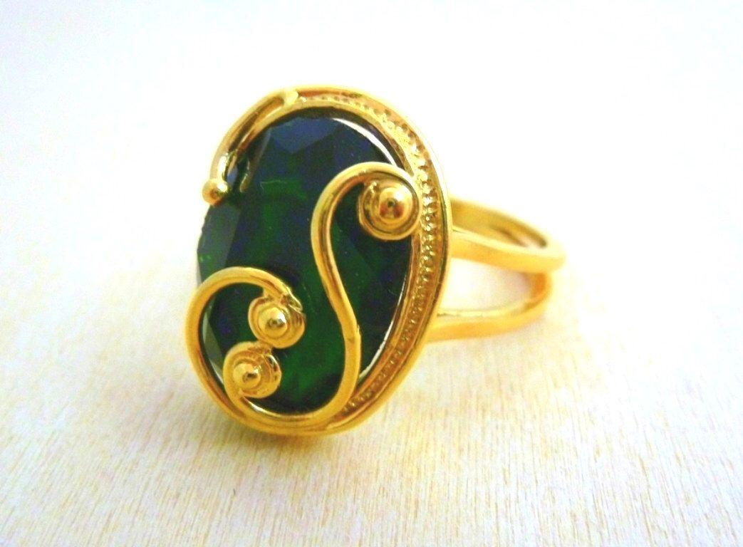 Emerald ring -Gold filled 14K gemstone Ring, filigree gold ring ...