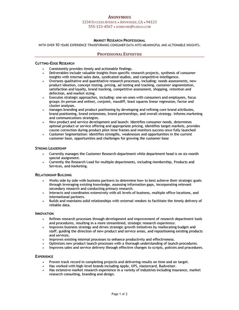 sample research resumes - Market Research Resume Sample