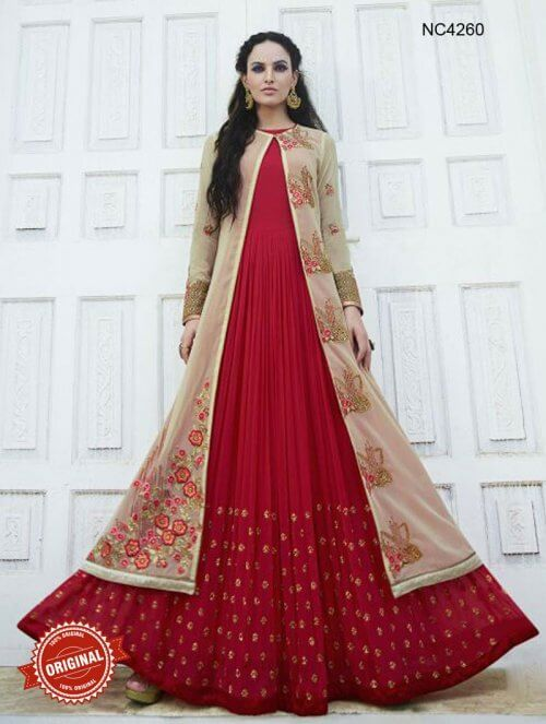 Order Cream & Red Jacket Style Anarkali Suit Online | Regal ...