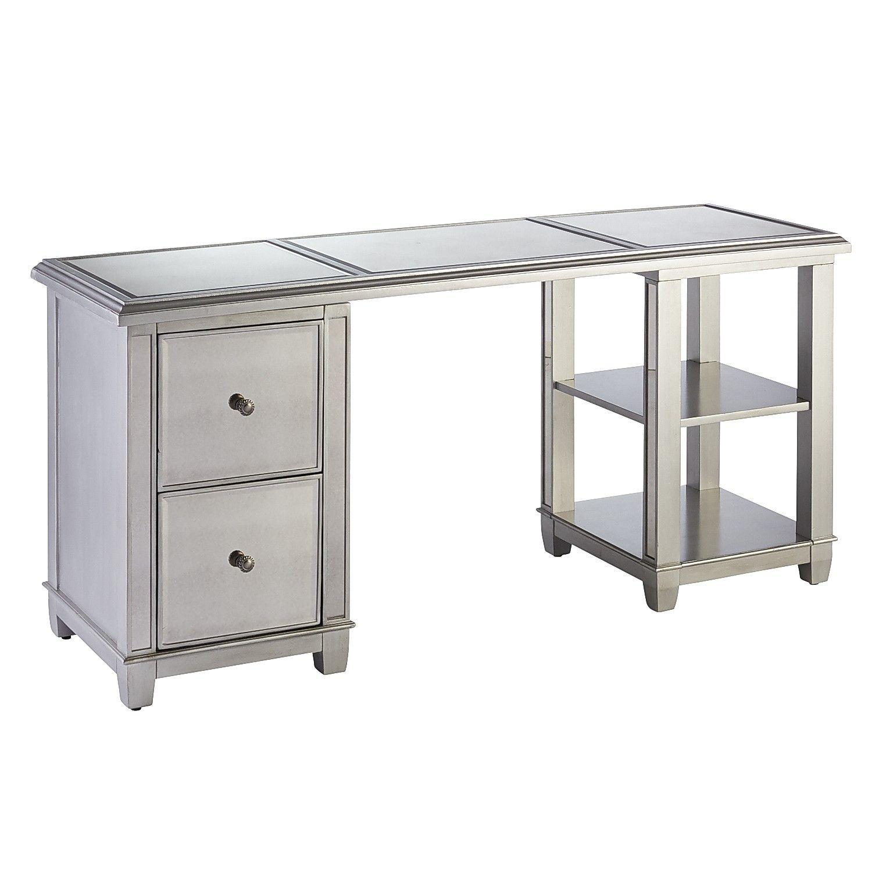 Hayworth Mirrored Silver Pedestal Cabinet Desk   Pedestal ...