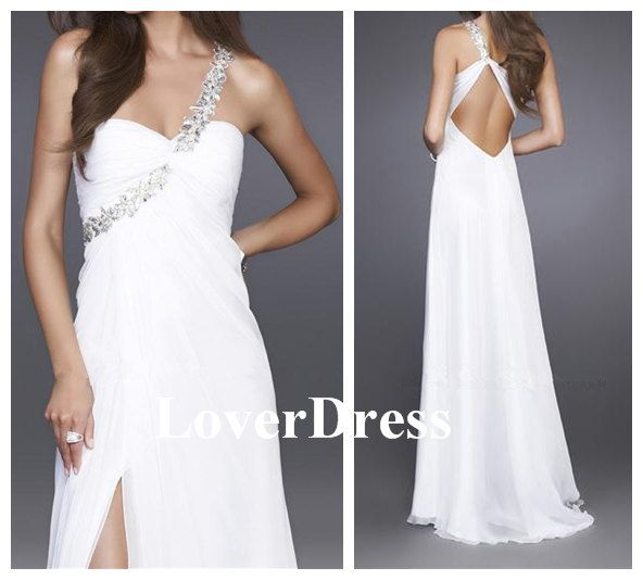Sexy Slit Prom Dress Front Slit Prom Dress White by LoverDress, $136.00
