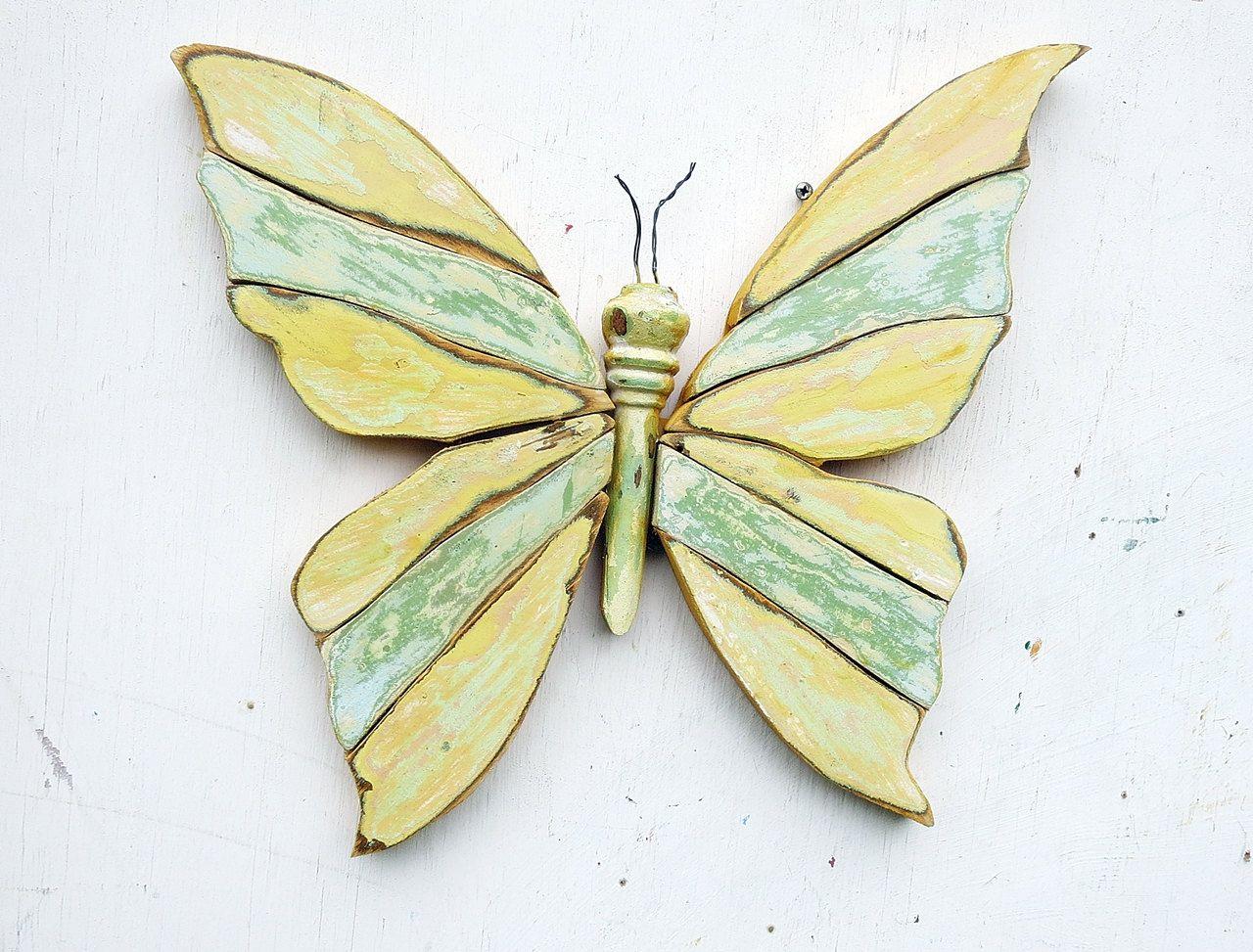 Mosaic Butterfly, Reclaimed Wood Wall Art, Rustic Wall Decor ...