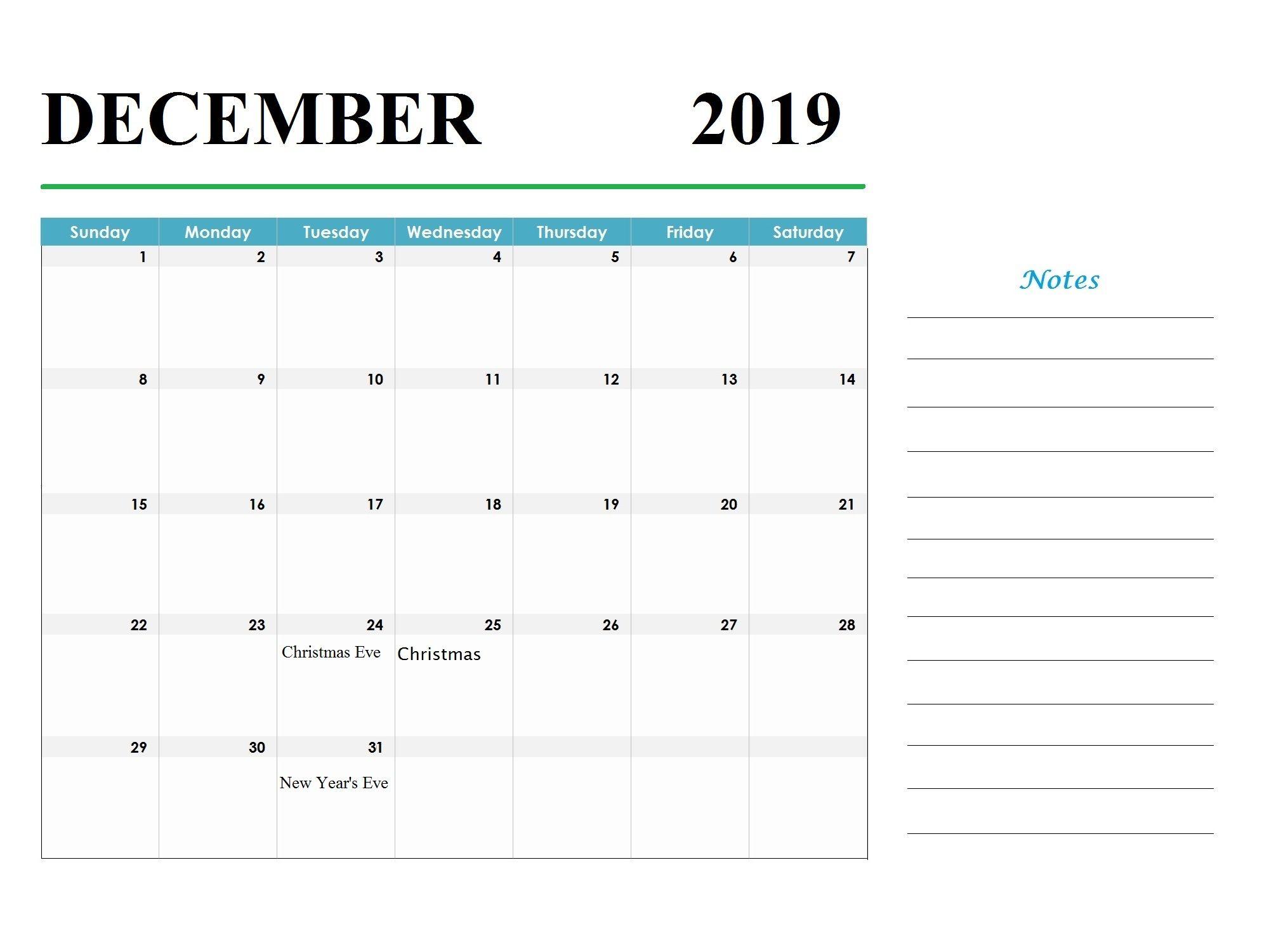 December 2019 Holidays Calendar Template 250 2019 Calendars