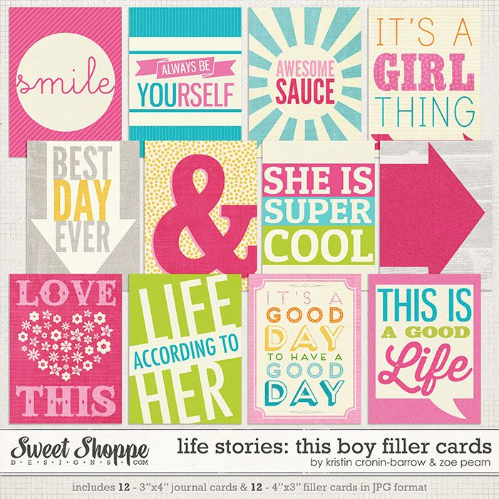 Life Stories: This Girl Filler Cards by Kristin Cronin-Barrow & Zoe Pearn http://www.sweetshoppedesigns.com/sweetshoppe/product.php?productid=25502 $2.99