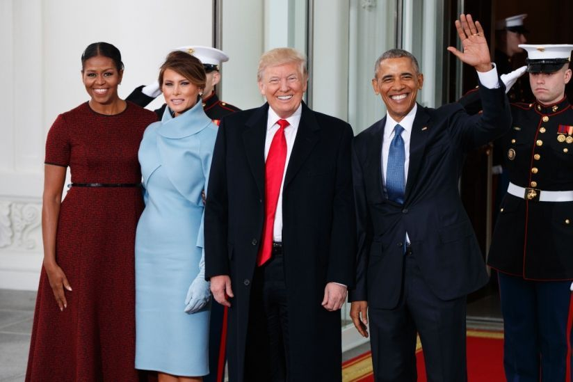 President Barack Obama and first lady Michelle Obama stand with President-elect Donald Trump and his wife Melania Trump at the White House.  1/20/17