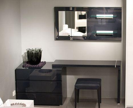 Cetti Dresser Chest Desk Set Glossy Dark Grey 4