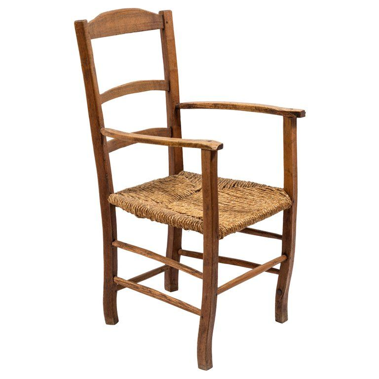 1stdibs Rush French Ladder Back Seat Armchair Wooden Armchair