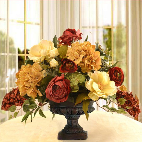 Mixed centerpiece in decorative vase silk flowers flower this silk flower arrangement will add elegance to any room created with high quality magnolias mightylinksfo