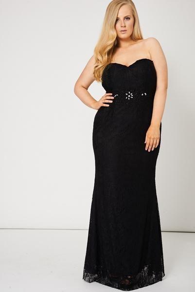 Black Beaded Lace Strapless Bandeau Maxi Prom Dress   Wedding Inspo ...