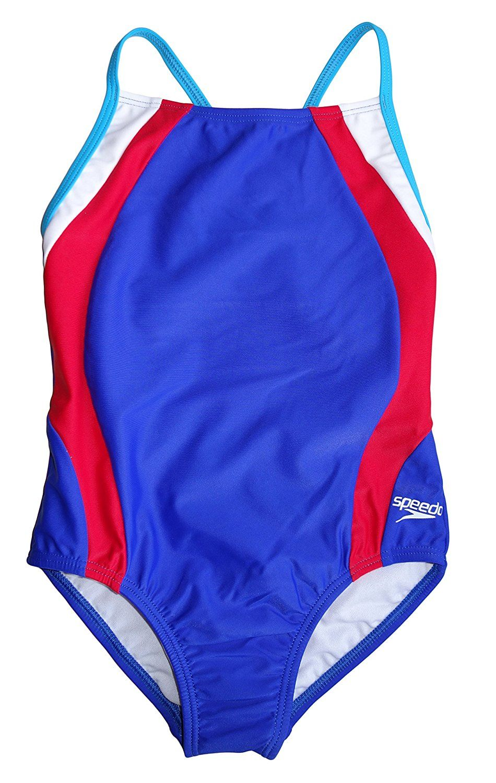 1d72a5d91b0b2 Amazon.com : Speedo Big Girls Patriot Blue Thin Strap Keyhole One Piece  Swimsuit (7) : Clothing
