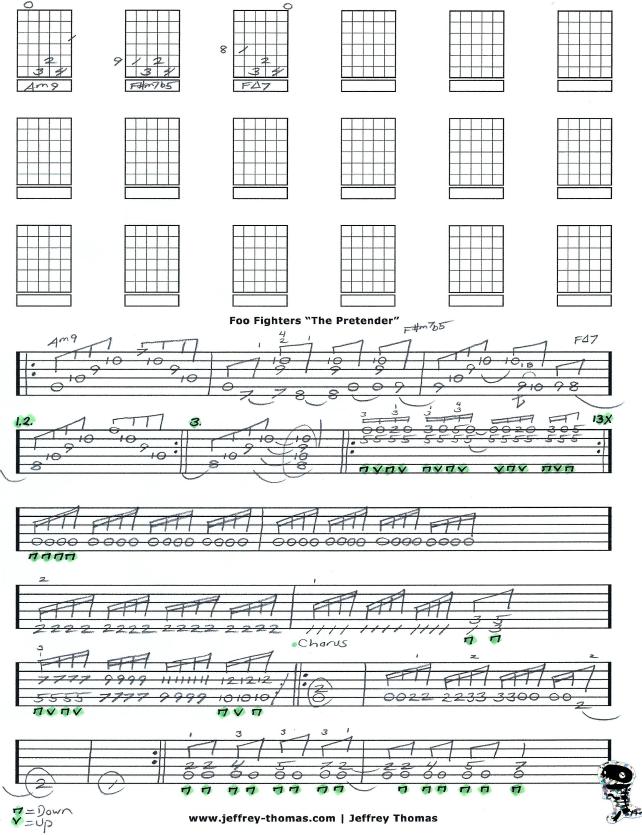 Foo Fighters The Pretender Free Guitar Tab By Jeffrey Thomas Www