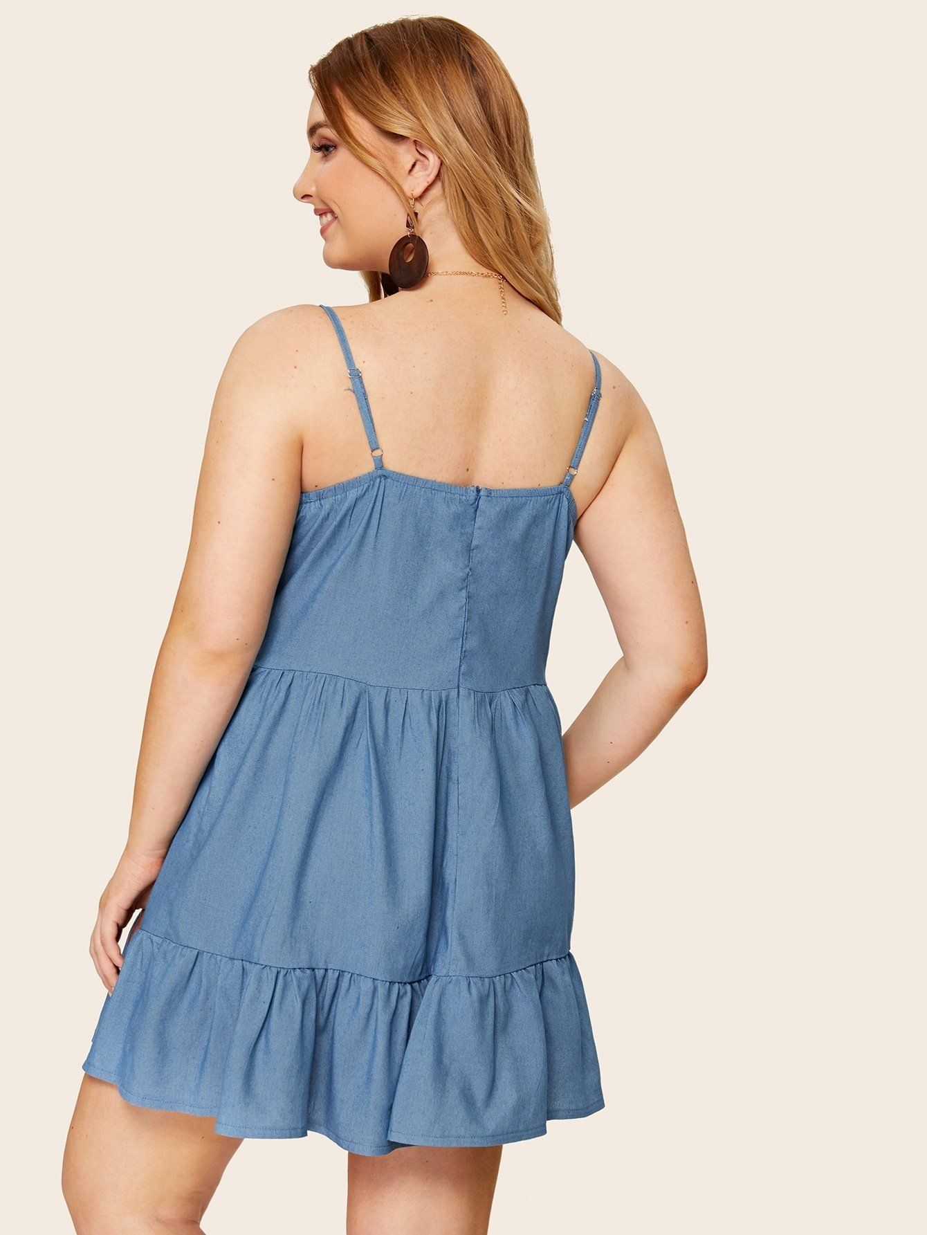 Plus Contrast Lace Ruffle Hem Denim Cami Dress Denim Tube Dress Cami Dress Lace Ruffle [ 1785 x 1340 Pixel ]