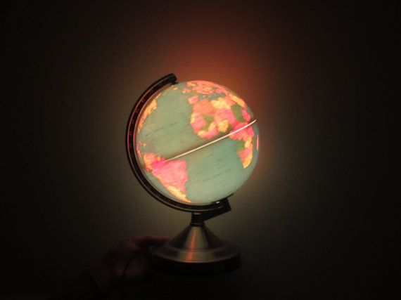 Blue green night light globe 1982 glow in the dark by dotto glow in the dark globe world map night light sciox Image collections