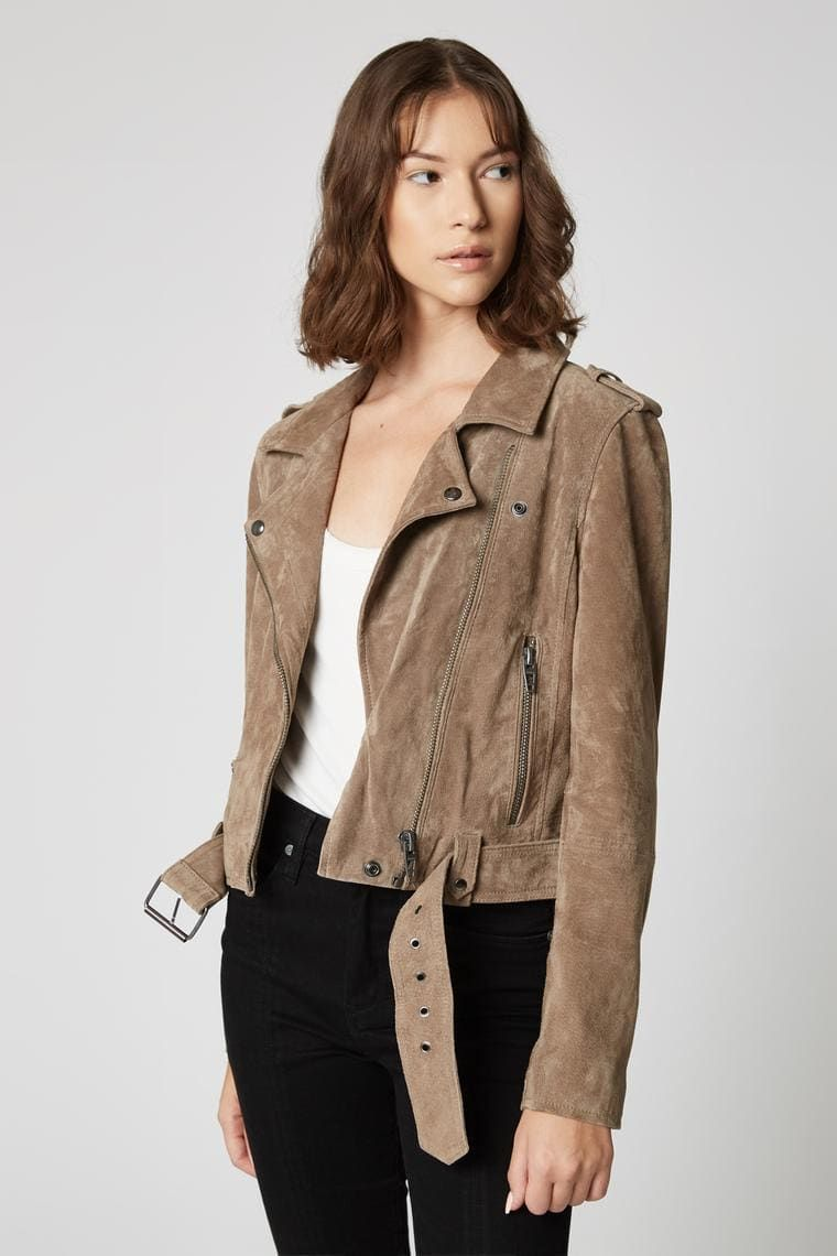 French taupe jacket jackets blanknyc suede moto jacket