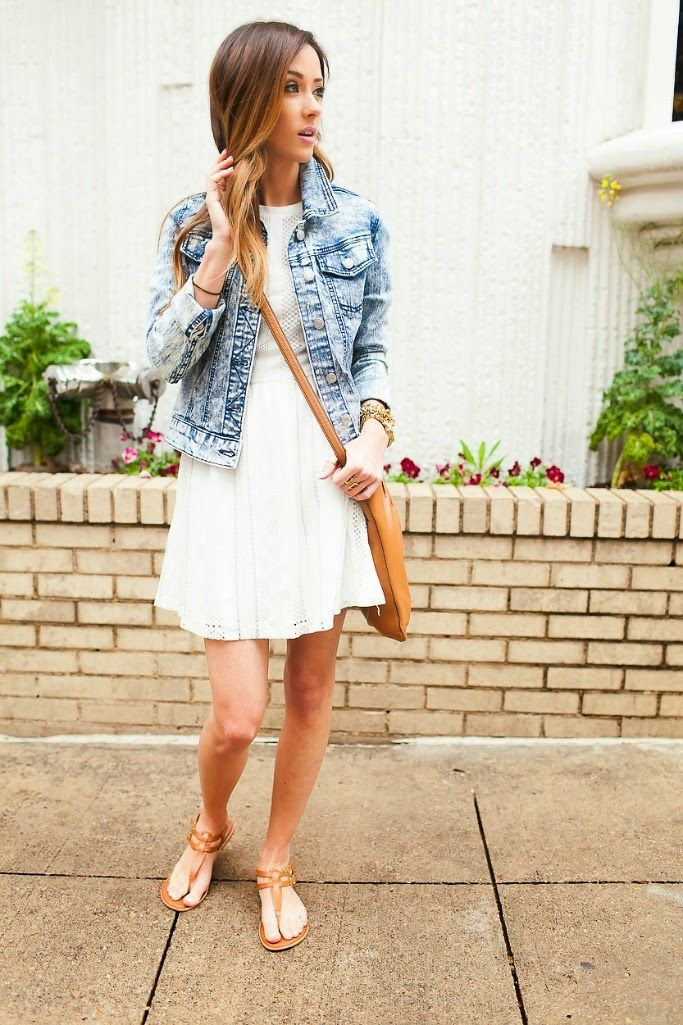 Denim Jacket, White Lace dress | Style | Pinterest | Karen walker ...