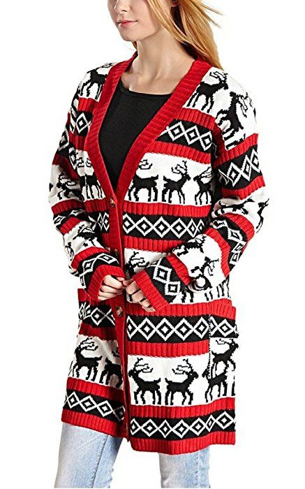 Womens Oversized Christmas Reindeer Cardigan (Small, Red Reindeer ...