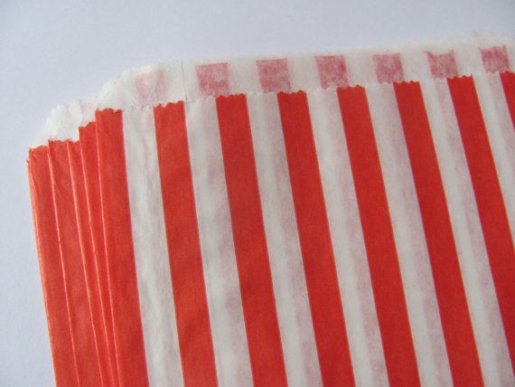 50 Paper Favor Bags  Red & White Stripes  5 x 7  by TheJoyfulCup, $6.00