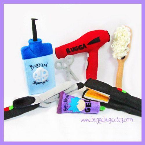 HAIR SALON - PDF Pattern (Shampoo, Scissors, Brush, Blowdryer, Gel, Straightener, Curling Iron). $6.00, via Etsy.