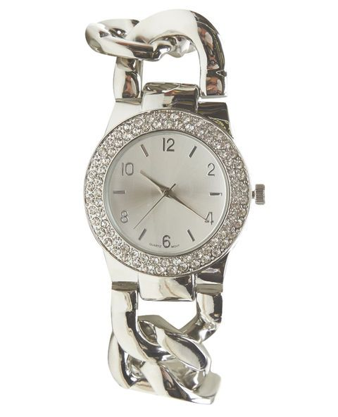 "Go full glam with this watch designed with chunky metal chain links as the band and a double-lined rhinestone embellished bezel. The metallic face matches the chain links with numerical and metal bar time markers. Watch has a jewelry clasp closure.   	Dial: 1.75"" diameter / Band: 1"" width 	Metal / Man Made Materials 	Imported"