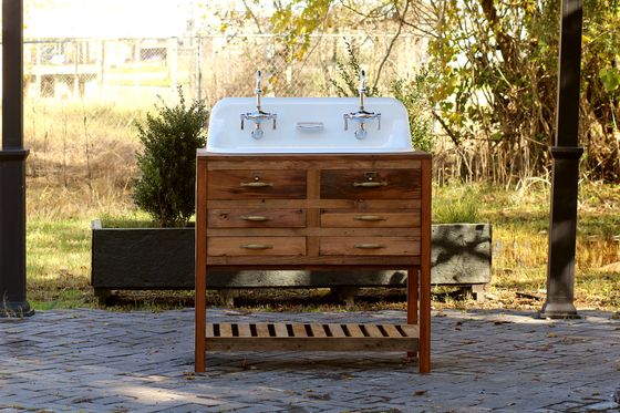 Reclaimed Wood 36 Trough Sink Kohler Farm Sink Apothecary Chest High Back Sink Package Kohler Farm Sink Trough Sink Farmhouse Trough Sink