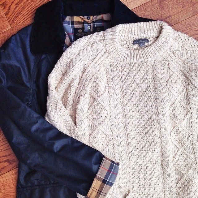 Barbour + a chunky knit.