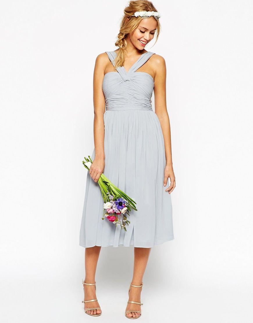 Bild 3 von ASOS – WEDDING – Mittellanges Kleid mit Neckholderdetails ...
