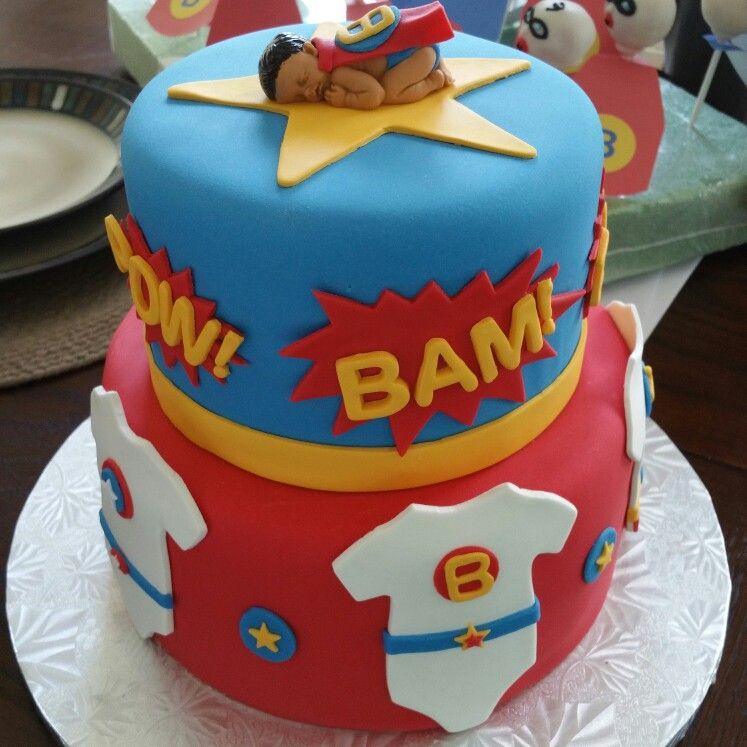 Baby shower super hero cake