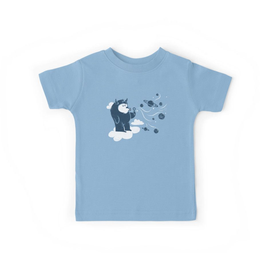 Kindershirt | T-Shirt für Kinder zur Einschulung | zum Schulanfang | Babyblau | Monster mit Seifenblasen | Weltraum | Planeten | All | Comic | Kinderkleidung | Universal fun (in blue) von littleclyde