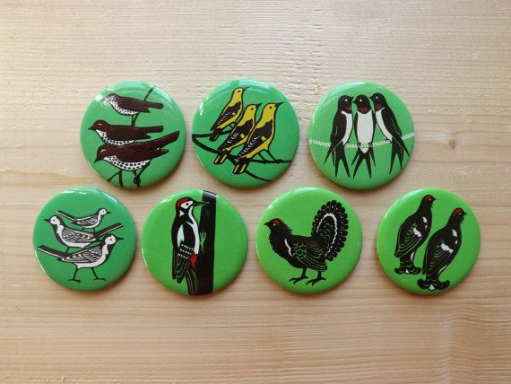Vintage pin set of 7 retro birds brooches/badges/ button pins from USSR - soviet brooches/badges/pinback button