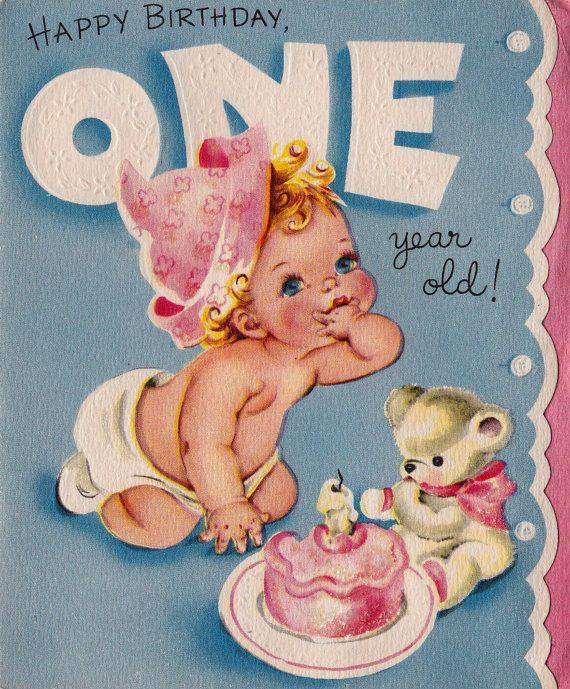 Vintage Happy Birthday One Year Old Greetings By Poshtottydesignz