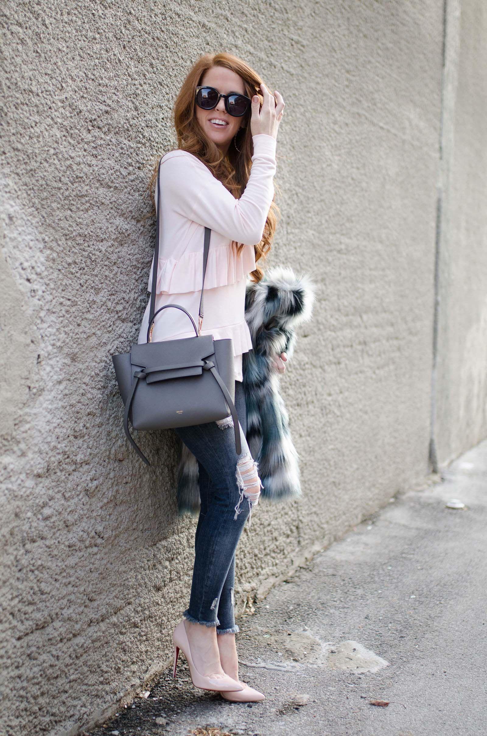 blush pink ruffle top. mini celine belt bag  31d1fde4c3dd7